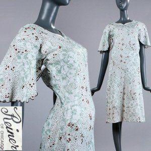 XS/S Vintage 60s 70s Flutter Sleeve Hippie Dress
